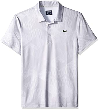 a15d70bf9 Lacoste Men s Sport Short Sleeve Ultra Dry All Over Print Sublimation Polo