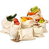 Reusable Produce Bags, Set of 7 Reusable Muslin Bags (1 of XXL, L, M, S, XS and 2 of XL) for Go Green, Zero Waste Grocery Shopping, Machine Washable, Light Weight, Tare Weight, Vegetable Bag