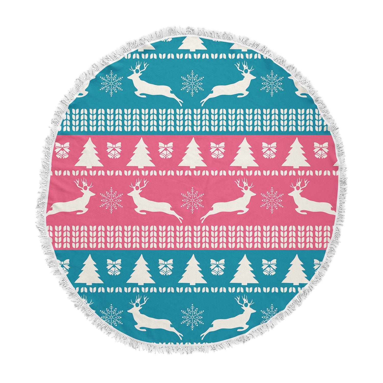 Kess InHouse Famenxt Christmas Blue Red Illustration Round Beach Towel Blanket