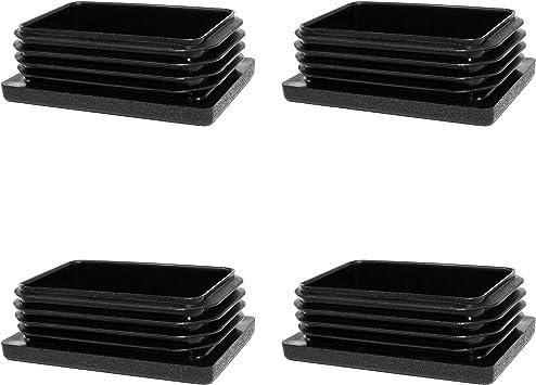 Rechteckstopfen 60x25 mm Schwarz Kunststoff Endkappen Verschlusskappen 10 Stck