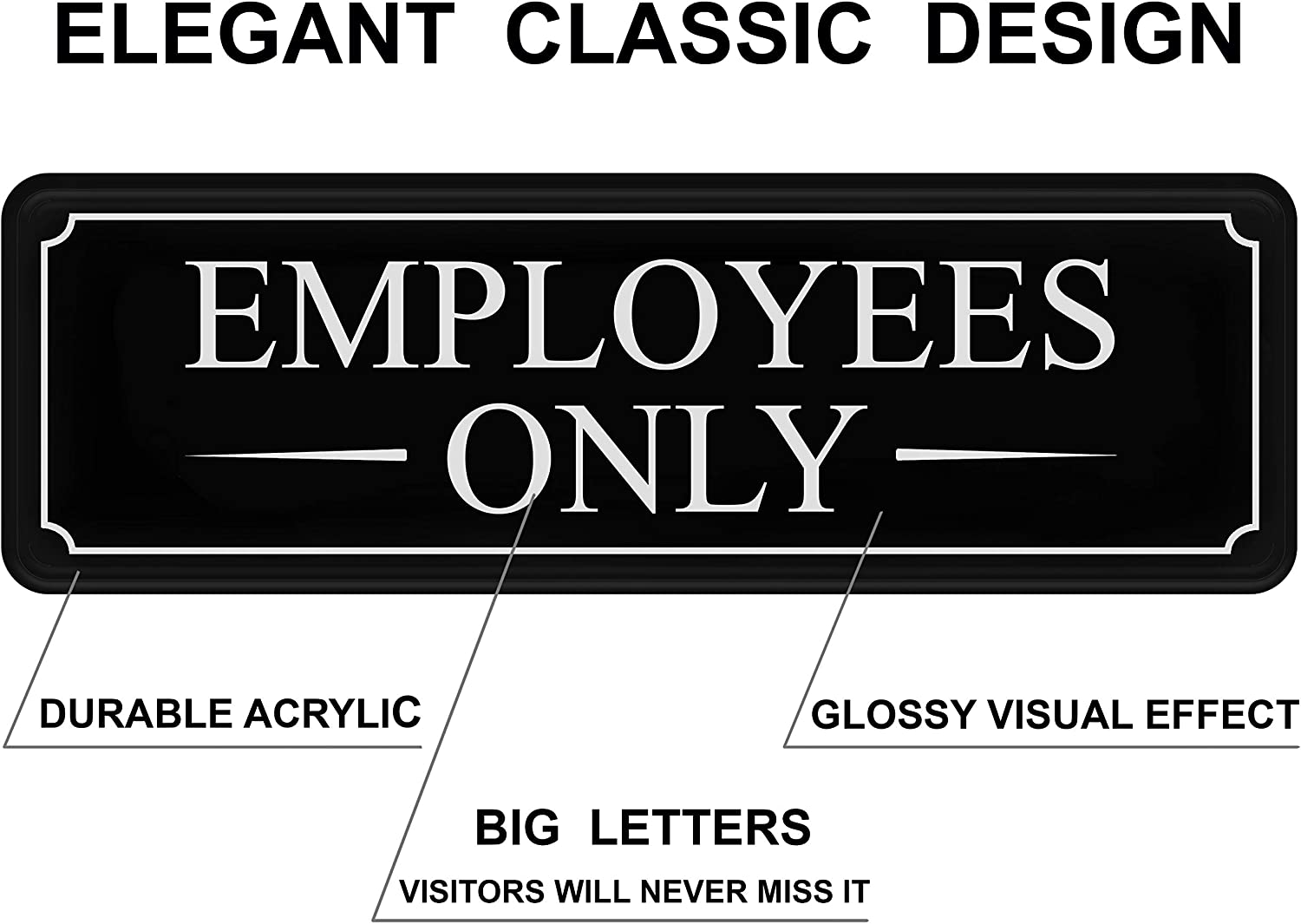 self-Adhesive 9/×3 in Quality Guaranteed by MolnijaPro Black White Large Sticker Employees Only Sign for Office Door Wall Home and Business Easy Installation Without Any Tools