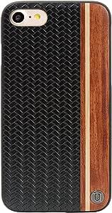يونيك غطاء حمايه من الياف الكربون مع الخشب لجهاز ابل ايفون 7 ، متعدد الالوان
