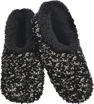 Women/'s Black /& Silver SEQUINED SOFT /& COZY Slipper Socks Sz L 8-10