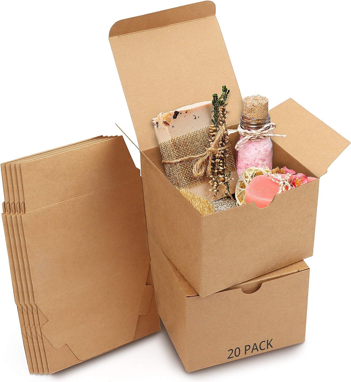 Belle Vous Cajas de cartón Kraft Marrón (Pack de 20) - Medidas 12 x 12 x 9 cm - Caja Kraft de Fácil Ensamblado - Cajas Automontables - Cajitas para Regalos de Fiesta, Cumpleaños, Bodas, Presentes