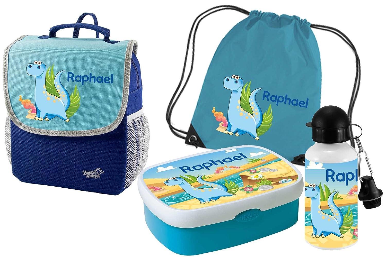 Mein Zwergenland Set 5 Kindergartenrucksack mit Brotdose - Turnbeutel und Trinkflasche Happy Knirps NEXT Mit Name Dino - 4-