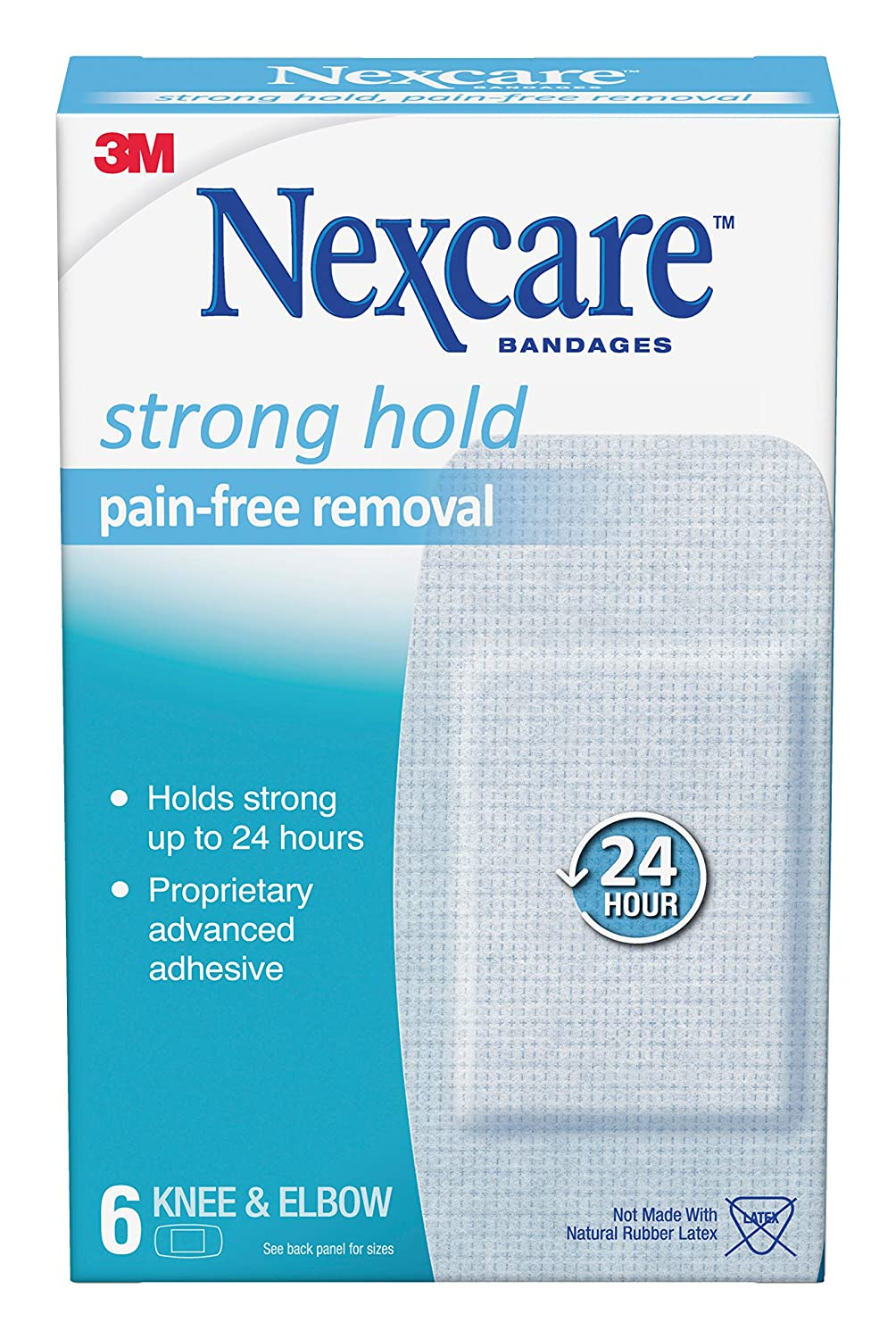 Nexcare Sensitive Skin Bandages for Knee and Elbow, Pain-Free Removal, Hypoallergenic, 6 Count