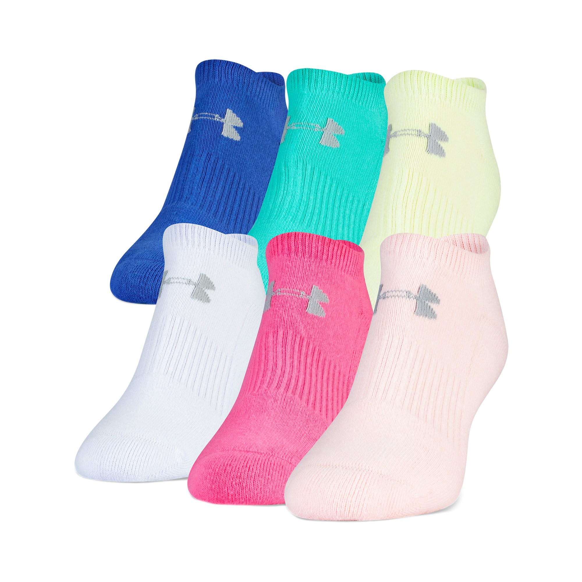 Under Armour Charged Cotton 2.0 No Show Socks, 6 Pairs, Color Assorted, Medium