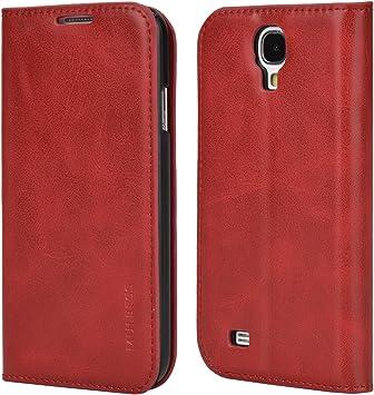 Mulbess Funda Samsung Galaxy S4 [Libro Caso Cubierta] Slim de Billetera Cuero de la PU Carcasa para Samsung Galaxy S4 Case, Vino Rojo: Amazon.es: Electrónica