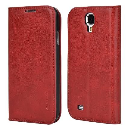 Mulbess Samsung Galaxy S4 Mini Hülle, Leder Flip Tasche mit Wallet Case für Samsung Galaxy S4 Mini Handy Tasche Cover Etui, Wein Rot