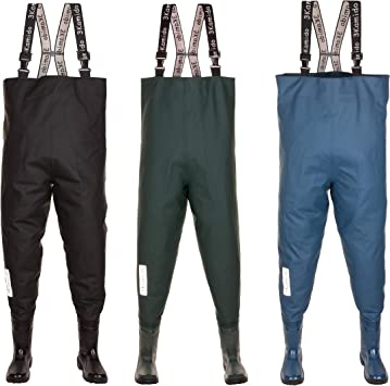 10,5UK PROS RUBBER WATERPROOF CHEST FISHING WADERS BLACK STRONG 45EU