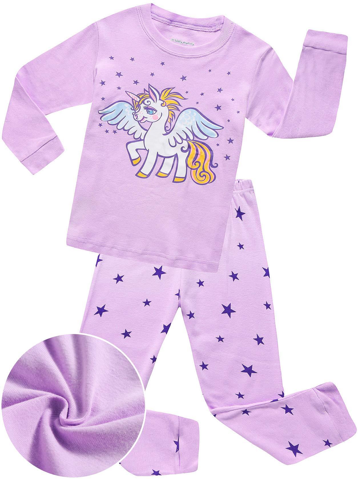 ANTSANG Toddler Girls Purple Unicorn Pajamas Long Sleeve Sleepwear Paj Set Kids Little Cute Cotton Clothes Children (Unicorn, 4T)