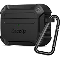 ZtotopCase for AirPods Pro 2019, Designed with Full Tough Silicone+Shock-Resistant Protective Cover, Front LED Visible, Durable Armor Case with Smooth Skin - Black