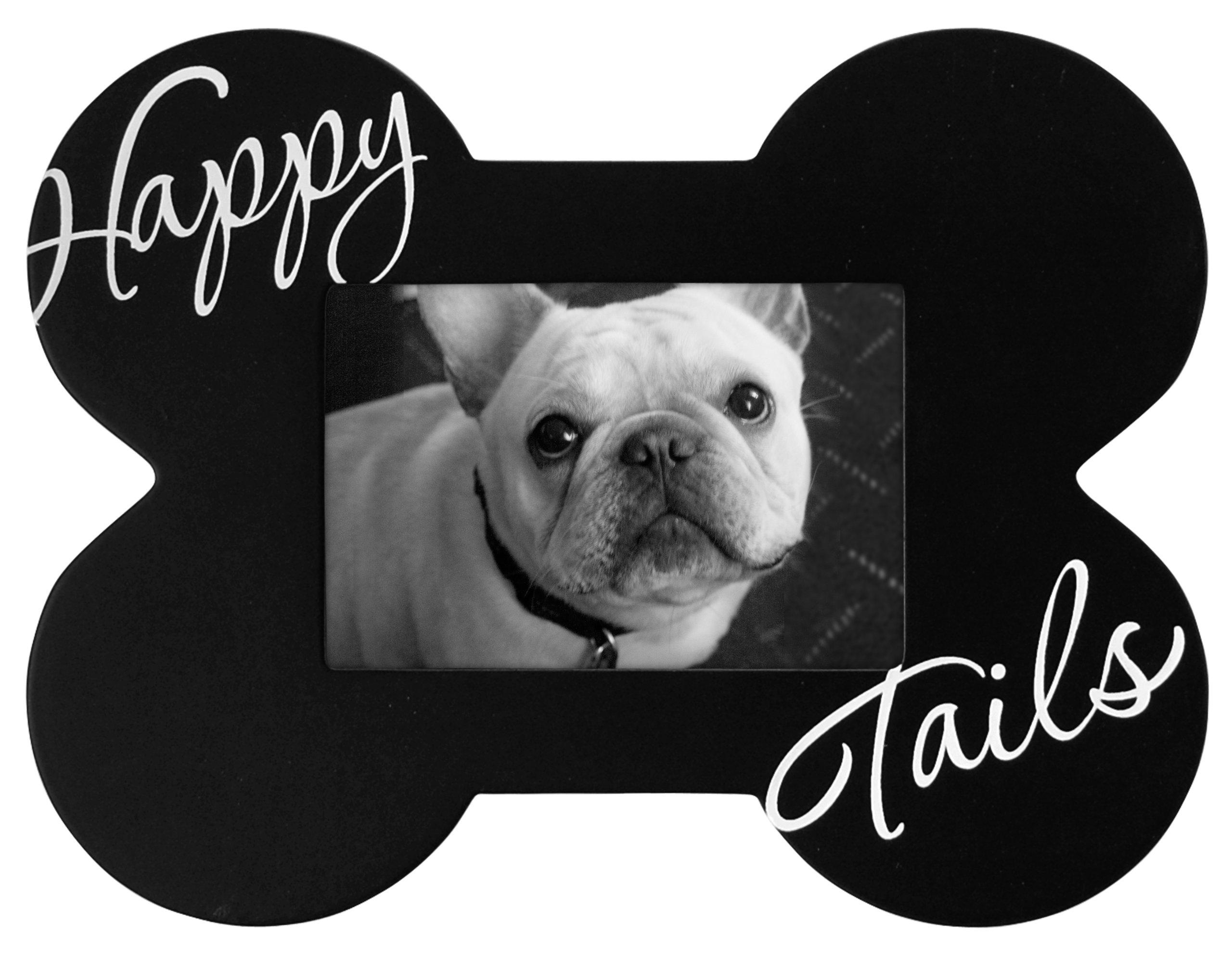 Malden International Designs Black Wood Happy Tails Picture Frame, 3.5x5, Black