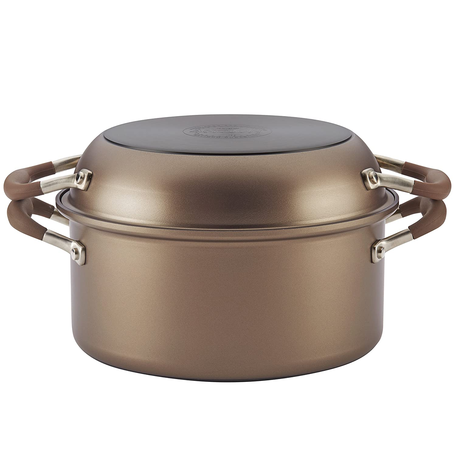 Anolon 83868 Advanced 2n1 Dutch Oven, 2Piece, Bronze