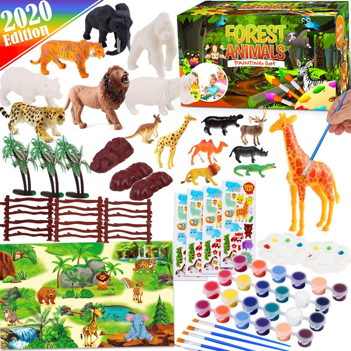 FunzBo Forest Animal Painting Art Set Kids Toys - Paint Your Own Animal Toys Educational Birthday Gifts DIY Arts and Crafts Paint Supplies for Toddlers Kids Toys Girls Boys Ages 4 5 6 7 8 + Years Old
