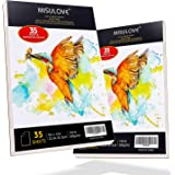 "MISULOVE Watercolor Pad, 9"" x 12"", 2 Pack(70 Sheets, 140lb/300gsm), Glue Bound, Cold Pressed, Acid Free, Art Sketchbook Great for Watercolors, Oil, Acrylic Painting, Wet & Dry Mixed Media"