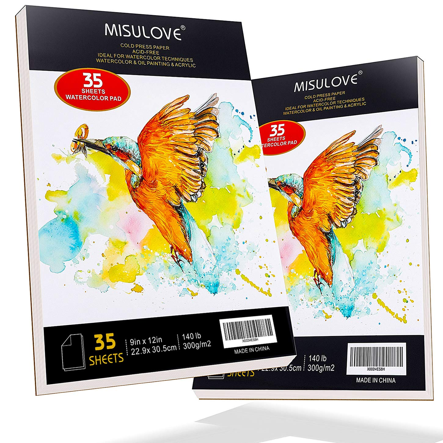 "MISULOVE 9x12"" Profession Watercolor Pad, Pack of 2, 70 Sheets (140lb/300gsm), Glue Bound, Cold Pressed, Acid Free, Art Sketchbook Great for Watercolors Techniques, Painting, Wet & Dry Mixed Media"