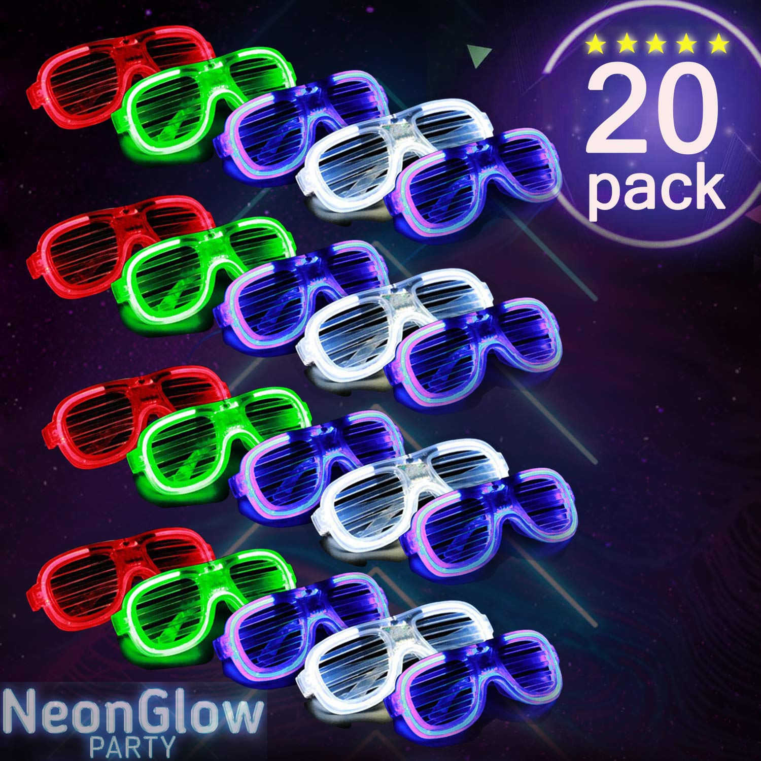 2019 IDNA LED Glasses,Neon Party Supplies 20 Pack Light Up Glasses,4 Color LED Sunglasses Shutter Shades Light Up Plastic Shutter Shades for Adults Kids Glow in The Dark Party Favors Rave Party