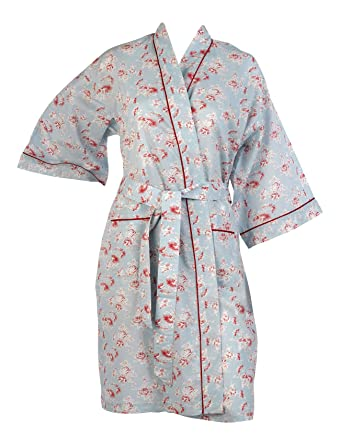 74b0e8b643 Ladies Vintage Floral Kimono Wrap 100% Combed Cotton Womens Lightweight  Dressing Gown Robe (Small