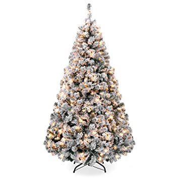 best choice products 9ft premium pre lit snow flocked hinged artificial christmas pine tree festive