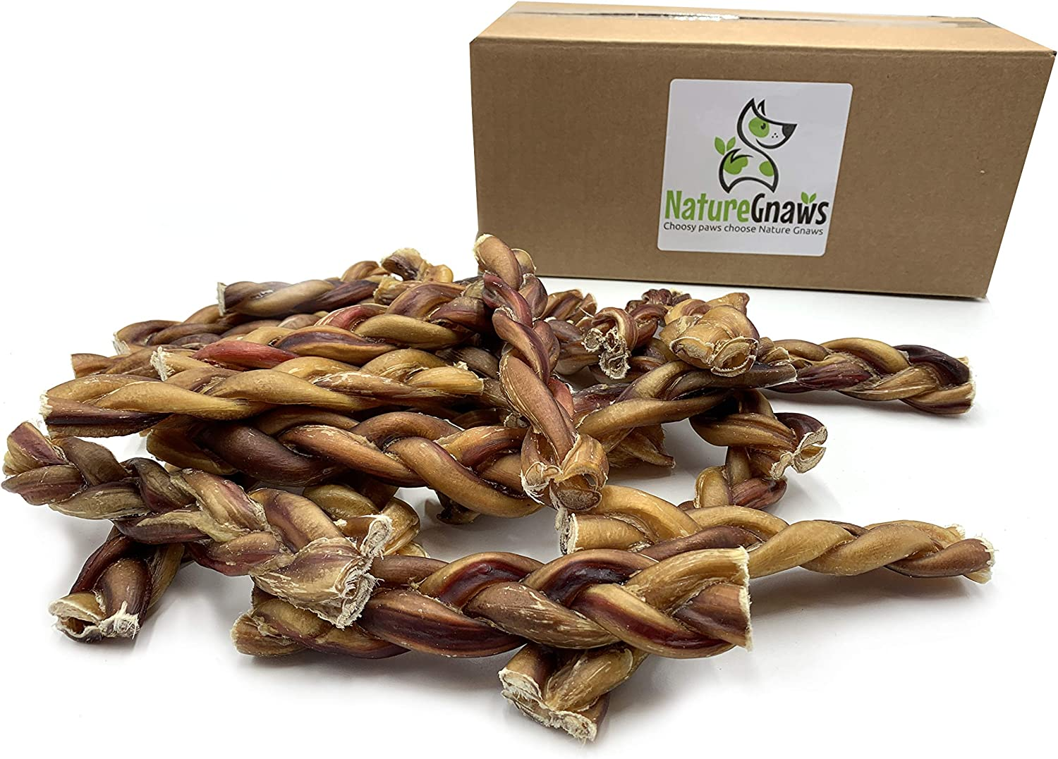 Nature Gnaws Braided Bully Sticks 5-6 inch – 100 Natural Grass-Fed Beef Dog Chews