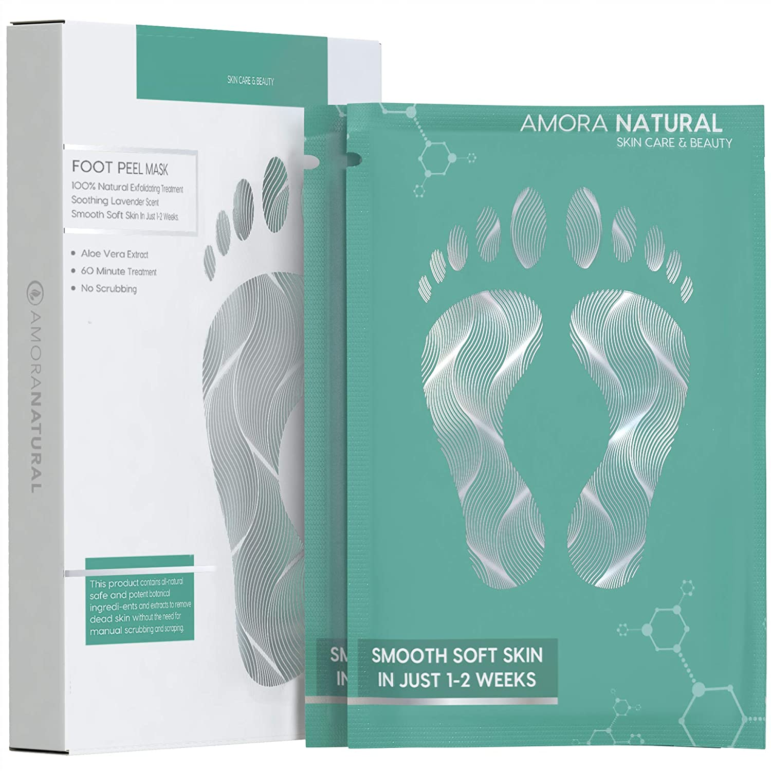 2 Pairs Exfoliating Foot Peel Mask - Smooth Soft Skin in Just 1-2 Weeks - Get Rid of Cracked Heels , Dead Skin , Callus - Natural Treatment - Lavender Scented. Amora Natural