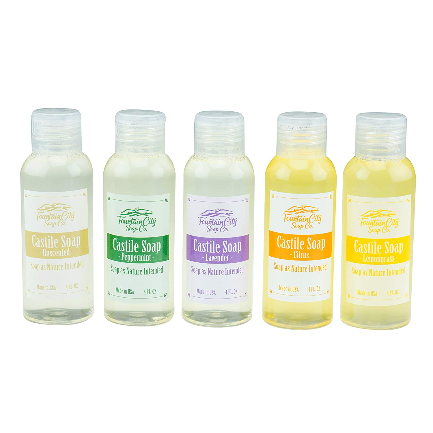 Pure Castile Liquid Soap, Variety Pack, 5 Unique Scents, 4 Ounces Each | Made with Organic Oils | Face, Body, Hair, Laundry, Pets & Dishes | Concentrated, Vegan, Non-GMO