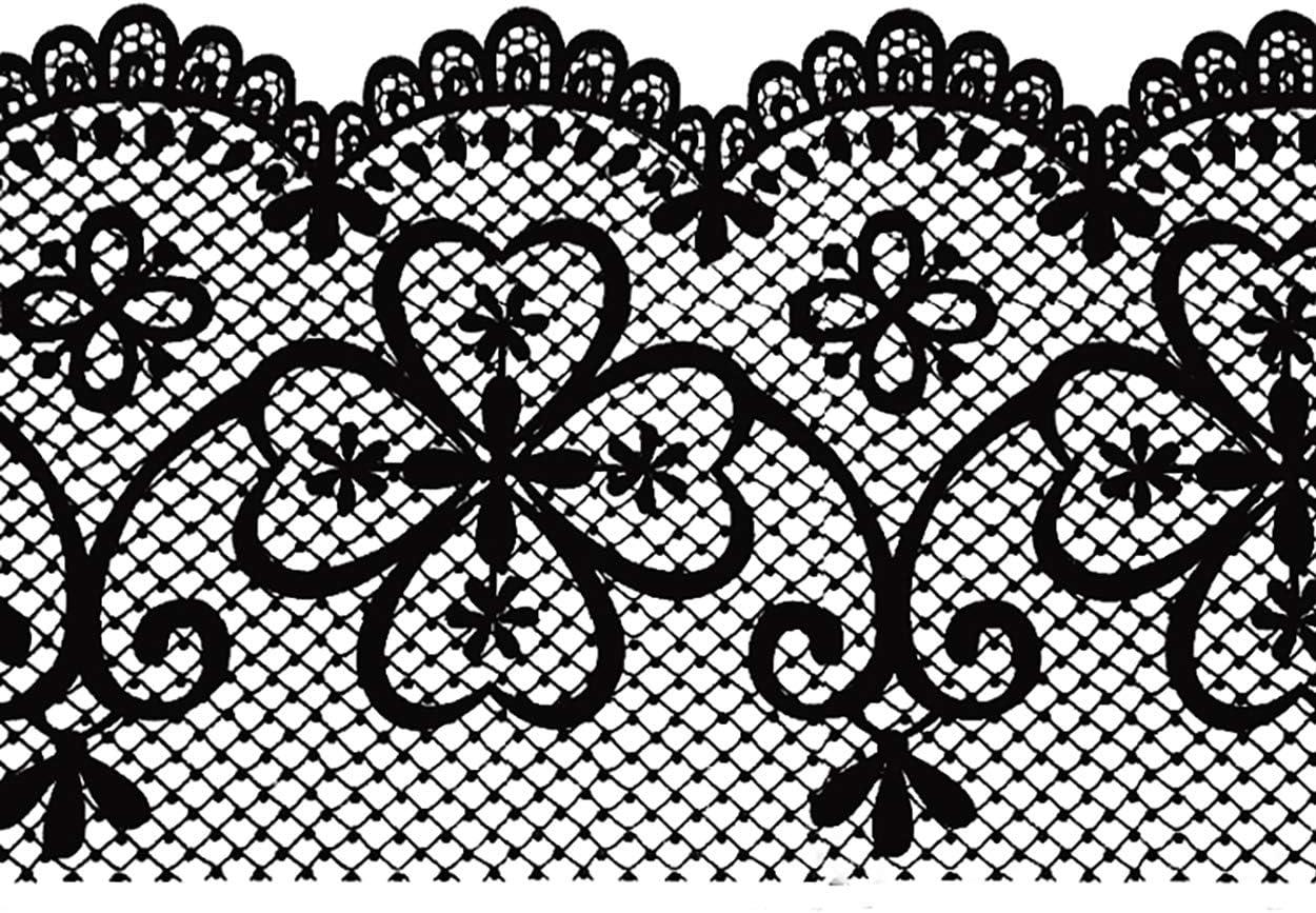 Dundee Deco MGAZB6001C Peel and Stick Trellis Black Latticework Self Adhesive Mirror Window Sticker Wallpaper Border 10m X 10cm Roll 33 ft X 4 in