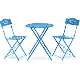 Alpine Corporation MSY100A-BL Chairs Patio Seating, Blue Alpine Indoor/Outdoor 3-Piece Bistro Set Folding Table