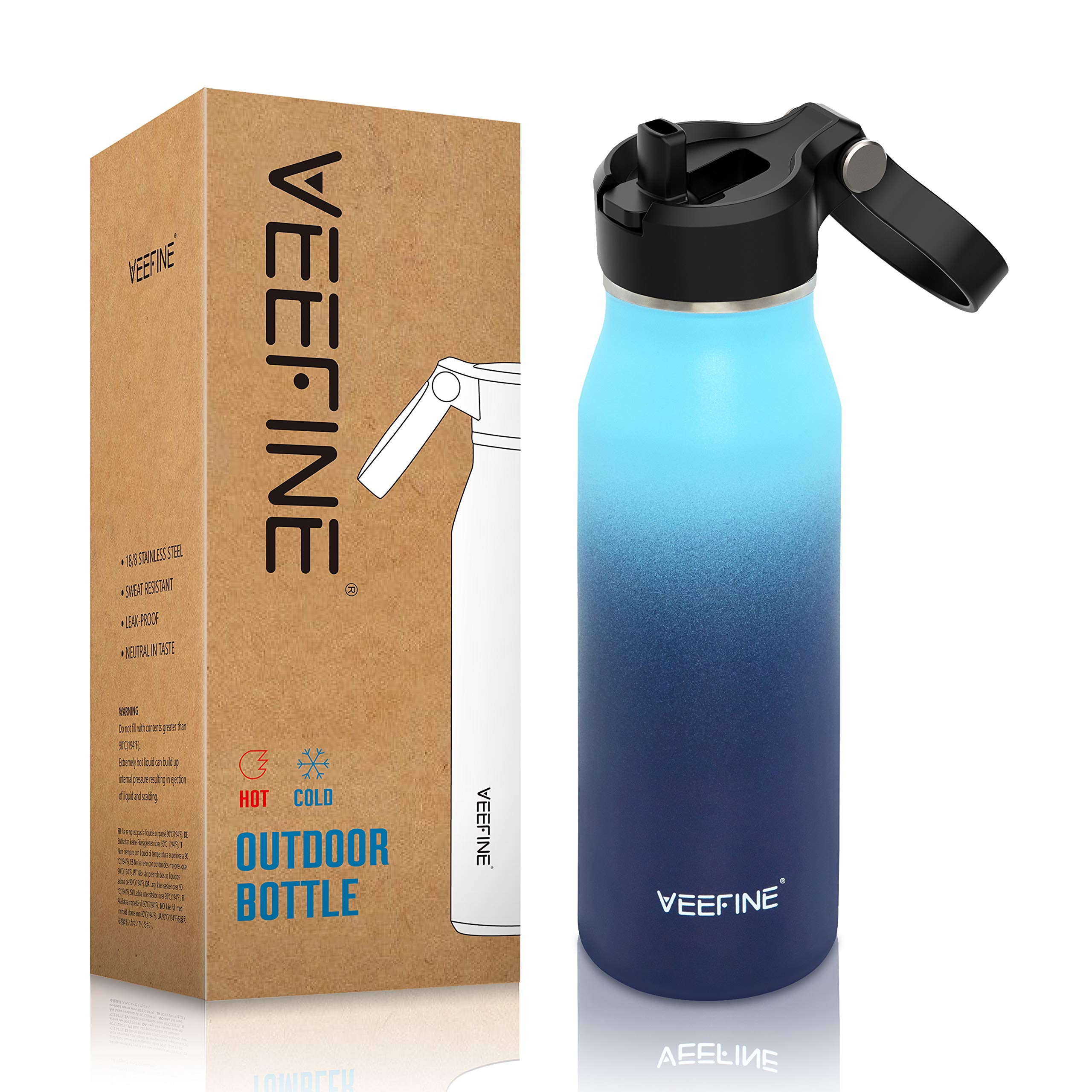 VEEFINE Insulated Water Bottle with Straw Lid 20/32/40oz Dishwasher Safe 18/8 Stainless