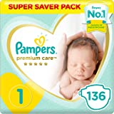 Pampers Premium Care Diapers, Size 1, Newborn, 2-5 kg, Super Saver Pack - 136 Count