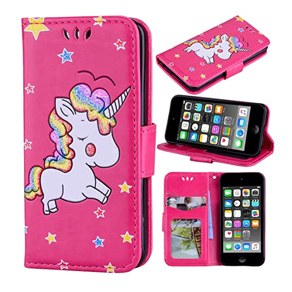 premium selection d58c7 225b9 iPod Touch 6 Case, iPod Touch 5 Case, Ranyi [3D Glitter Unicorn Embossed]  [Flip Magnetic Wallet] [3 Card Slot] Cute Bling PU Leather Folio Wallet  Case ...