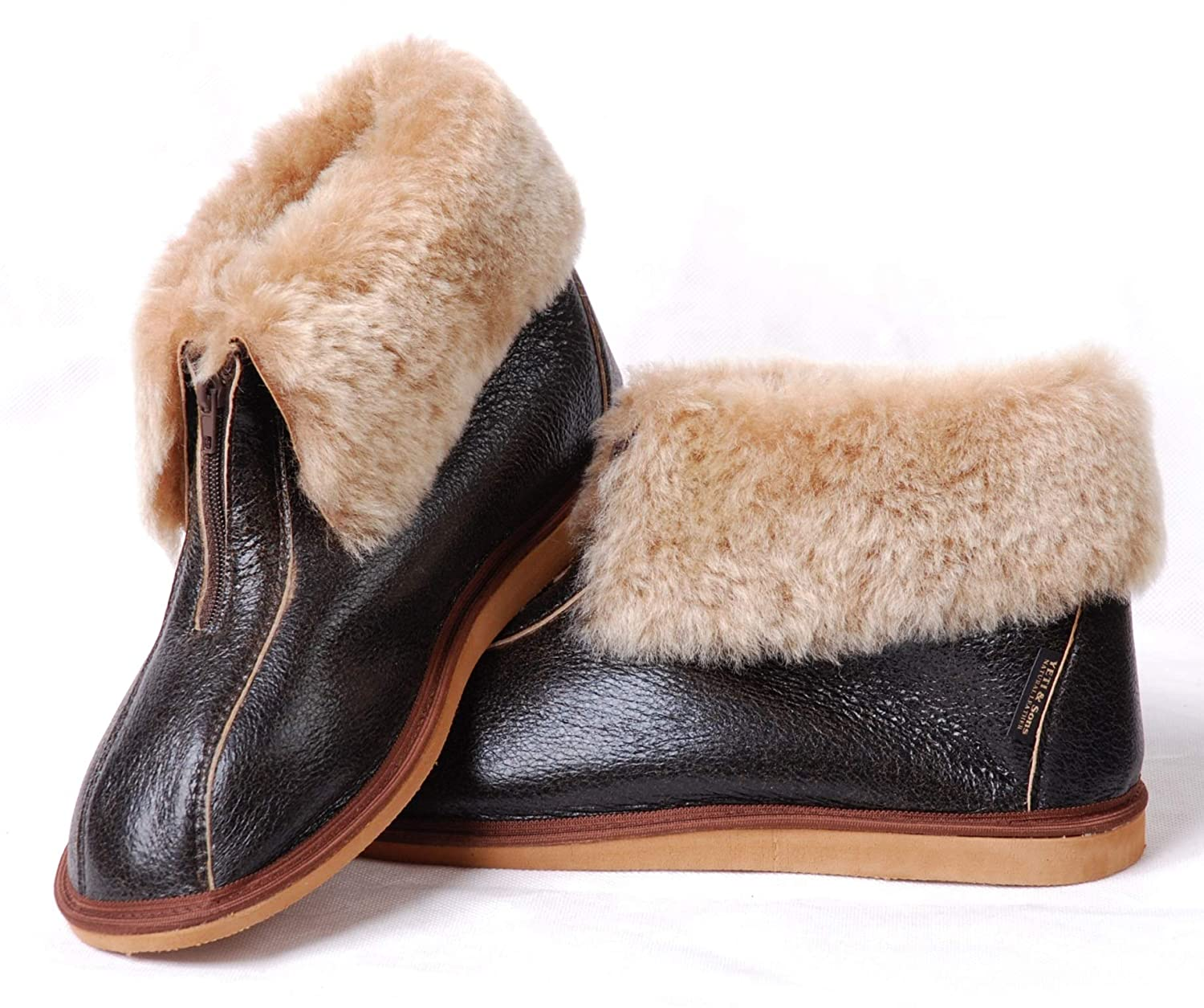 57bbf8ca437 Yeti & Sons Hand Crafted Luxury Men's 100% Sheepskin Lined Zip Boot  Slippers Gift Boxed