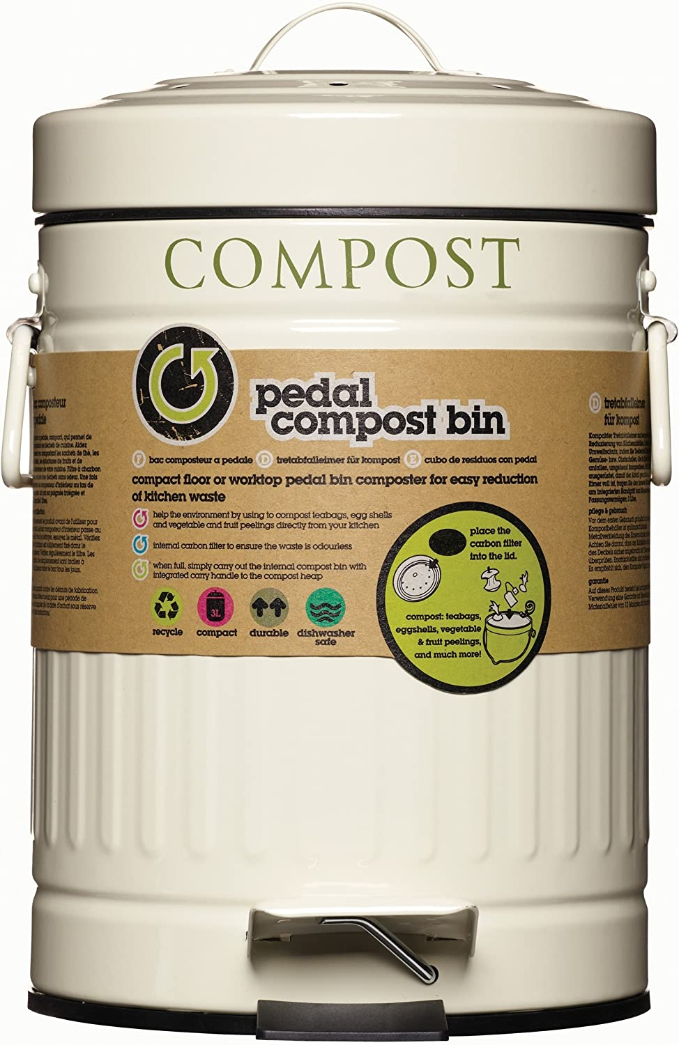 Kitchen Craft Compost Pedal Bin With Carbon Filter - Cream