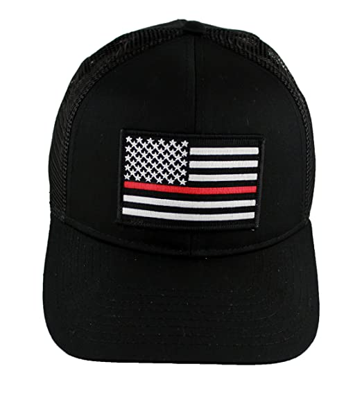 ea21249c66f Thin Red Line Fire EMS Embroidered Iron On Patch Snapback Trucker Cap (Black )