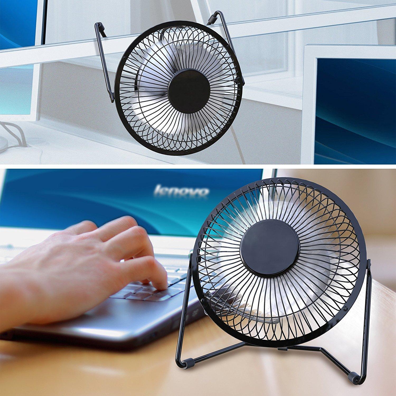 iVoler Mini Ventilador USB Silencioso 4 Pulgadas Negro Met/álico Ventilador de Mesa Potente USB Fan con Ajustable 360 Grados de Rotaci/ón para Personal Port/átil de Escritorio Hogar Oficina o Viaje