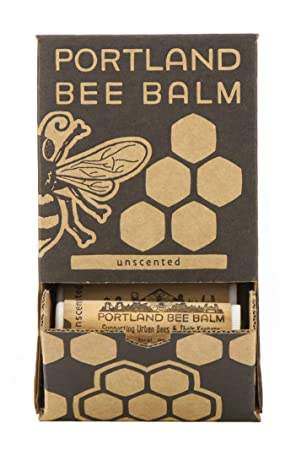 Portland Bee Balm All Natural Handmade Beeswax Based Lip Balm, Unscented Case of 24