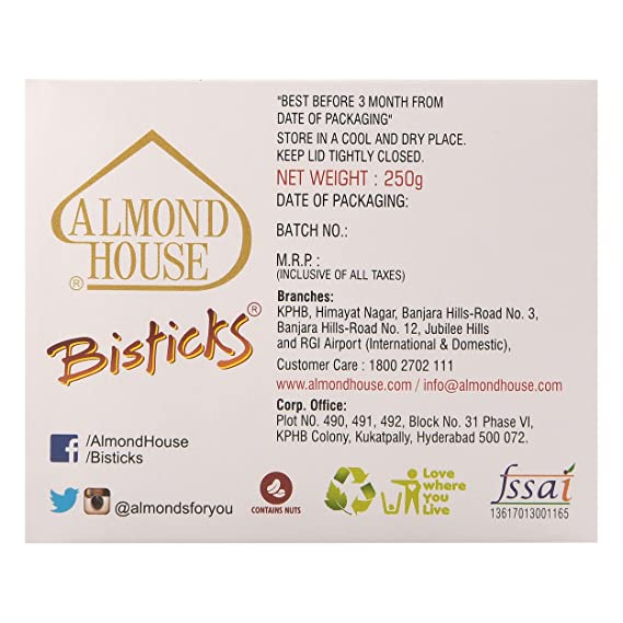 Almond House Hyderabad Bisticks (250gm)