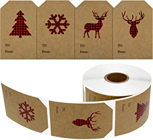 400 Pieces Christmas Holiday Present Tag Labels Christmas Kraft Paper Stickers with Red and Black Plaid Elk Snowflake Christmas Tree for Christmas School Home Office Present Tags Cups Bottles
