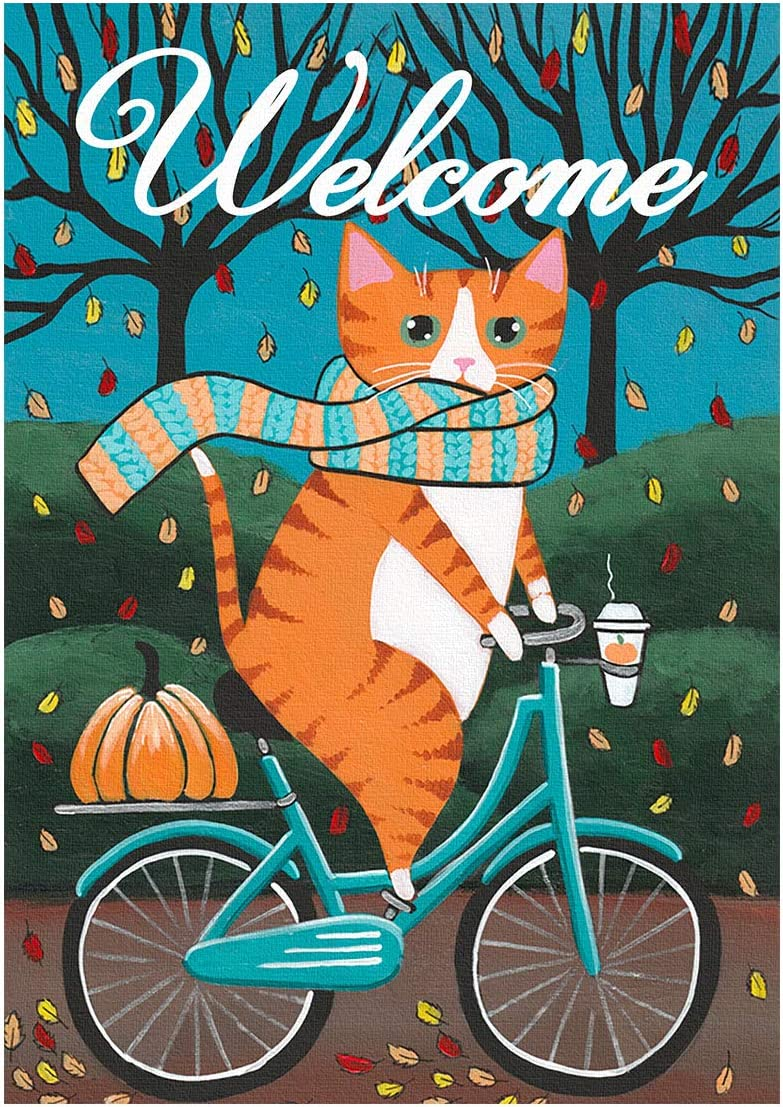 "LYNHEVA Welcome Garden Flag-Fall Garden Flag-Cat Riding a Bicycle Flag Yard Flag- 12""x18"" Double Sided Outdoor Decor Garden Flag"