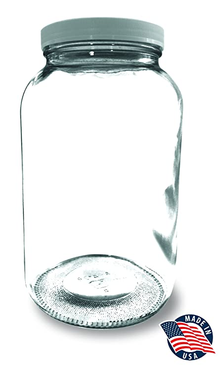 Wonderful 1 Gallon Wide Mouth Glass Mason Jar   MADE IN USA   With Plastic Lid