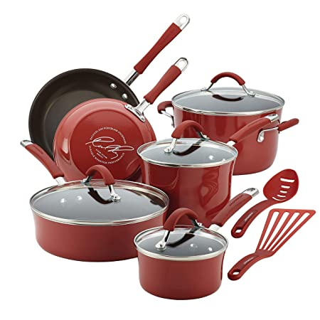 Rachael Ray Cucina Hard Porcelain Enamel Nonstick Cookware Set, 12-Piece, Cranberry Red Renewed