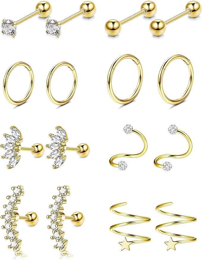 18g Eer lobe piercing 14K Gold CZ tragus earring,Cartilage earring,Cartilage earring,Helix earring,Ear Jacket gold earring