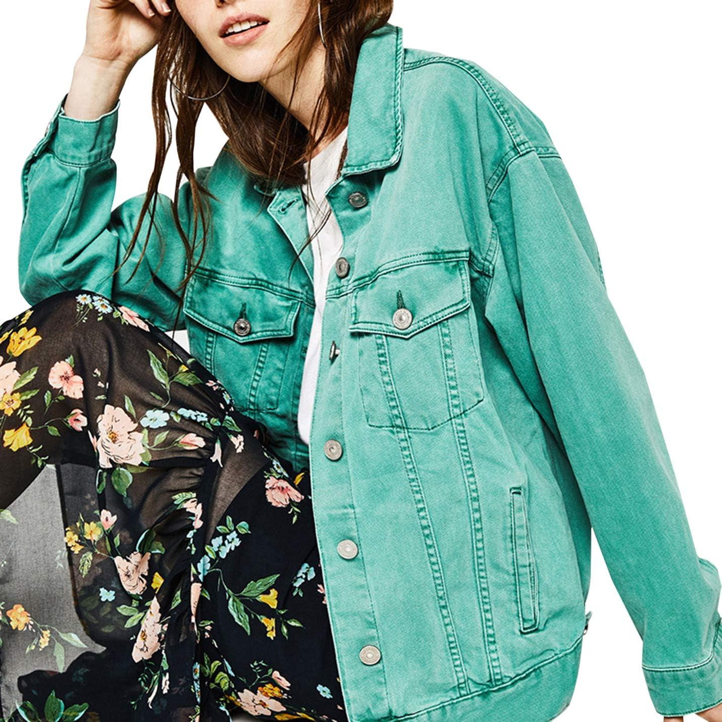 Yimoon Womens Vintage Distressed Boyfriend Denim Jackets Loose Street Jean Coats