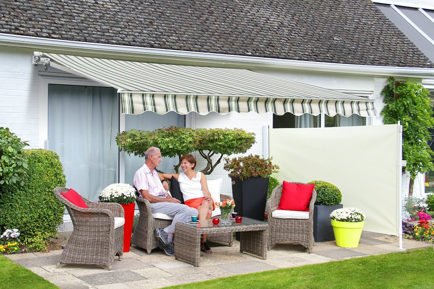 1.5m Standard Manual Awning, Multi-Stripe Primrose