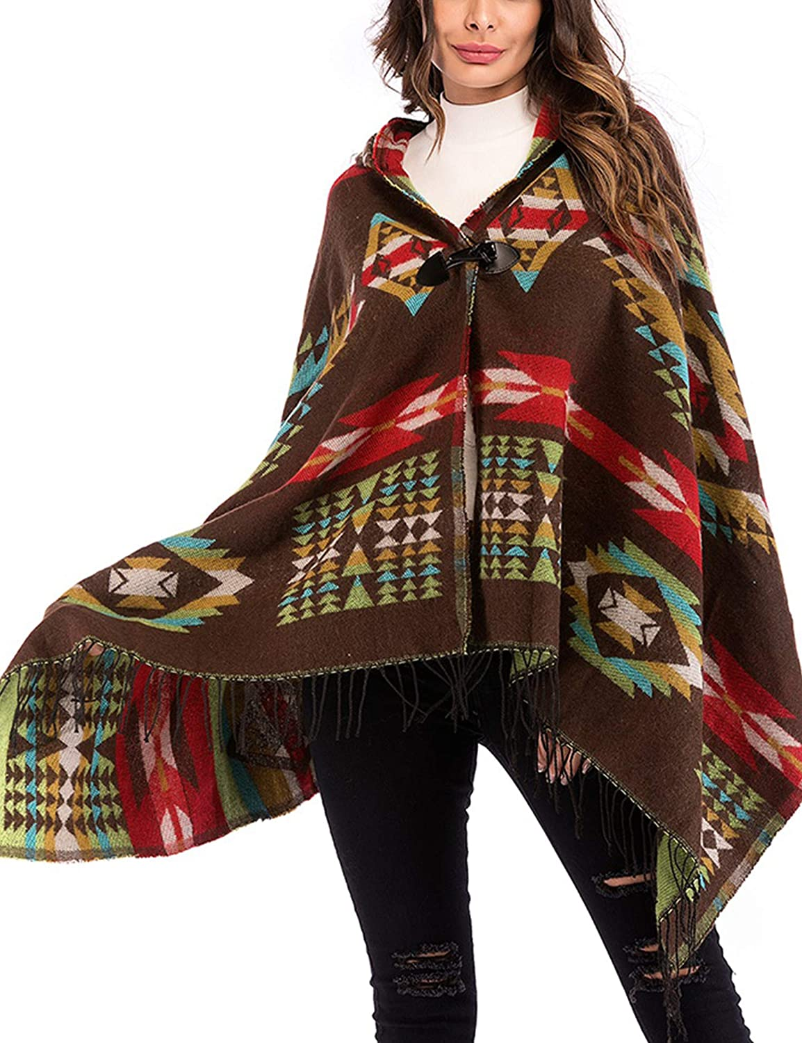WISREMT Women's Hooded Cloak Cape Bohemian Fringed Shawl Loose Poncho Cape