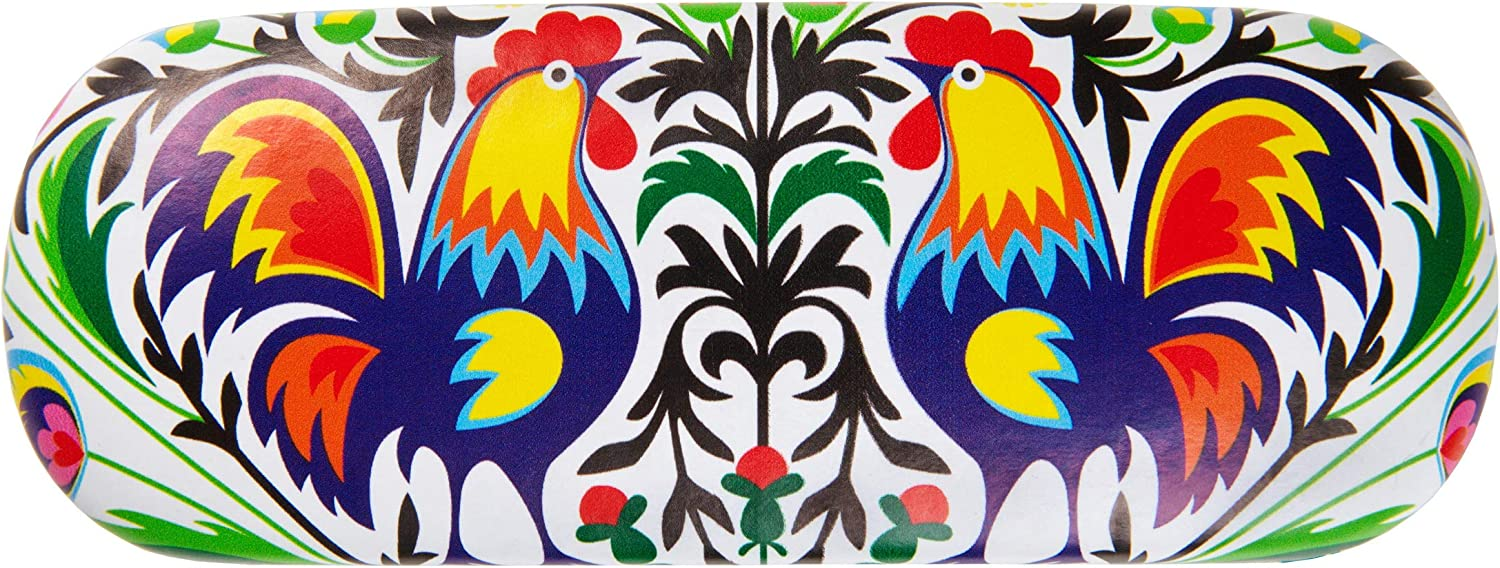 Eye Glass Protective Case with Beautiful Rooster Design from Lowicz Region in Poland Wycinanki