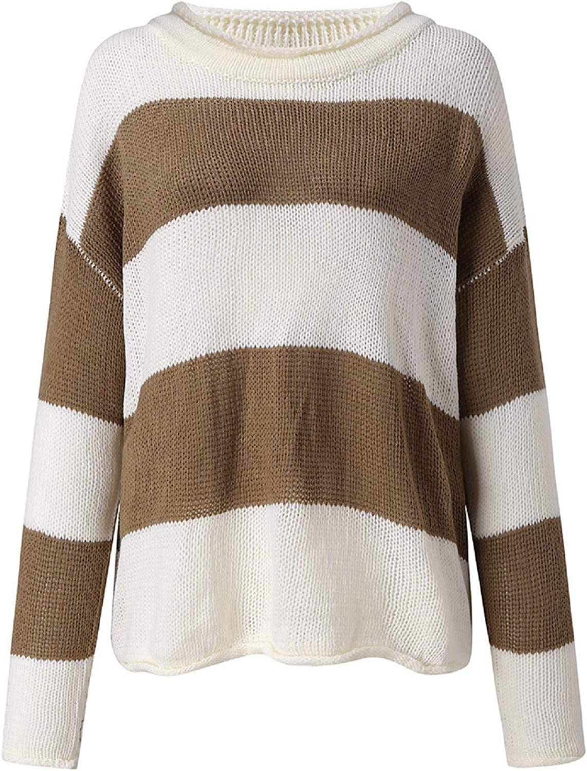 Women Color Block Splicing Sweater, Tsmile Knitted Long