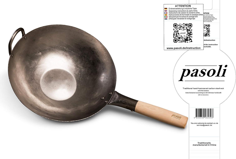 pasoli Wok con Base Plana para la Cocina (también de inducción) | 30 cm de diámetro | Tradicional de Acero al Carbono Martillado a Mano | Wok Base Plana | Mango de Madera | Capa Antiadherente Natural
