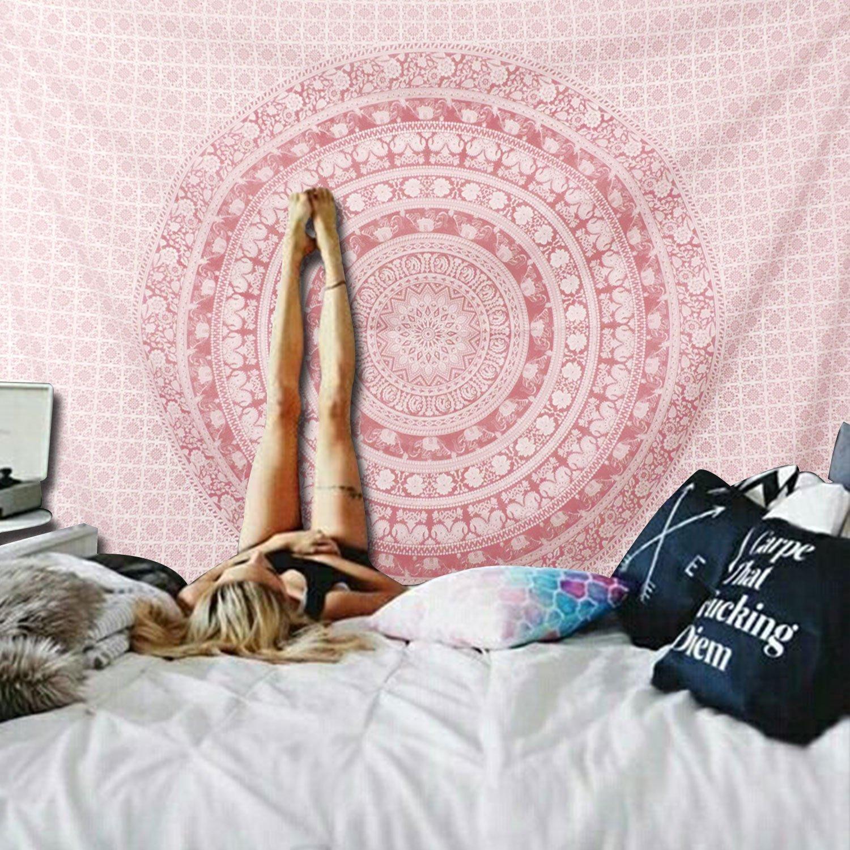 51.2X59.1 mandala indien ombr/é Tapisserie murale murale /à suspendre en forme de mandala grande tenture murale /à suspendre style boh/ème hippie dor/é rose rose paillet/é Rose Gold Ombre Tapestry